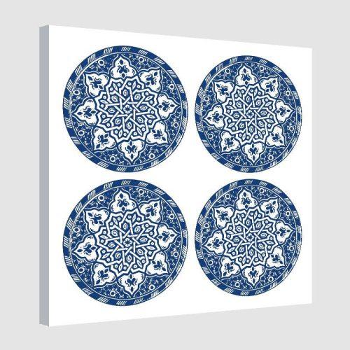 Tableau arabe assiette moderne-bleu