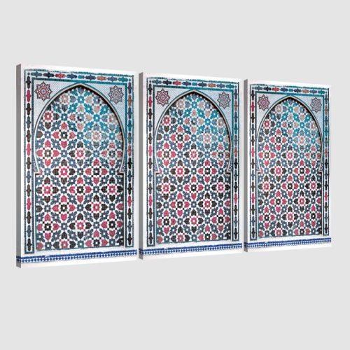 Tableau arabe porte mosaïque triptyque-rouge