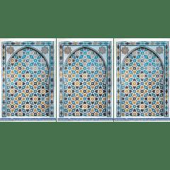 Tableau arabe porte mosaique triptyque-turquoise