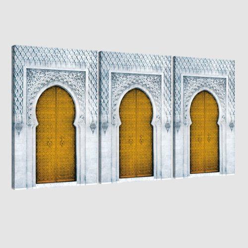 Tableau arabe porte triptyque-jaune