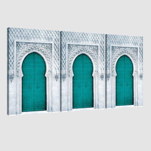 Tableau arabe porte triptyque-vert