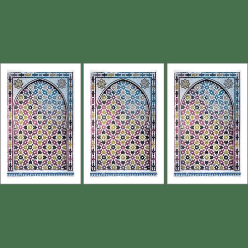 Poster arabe-portes-mosaique triptyque-fuchsia