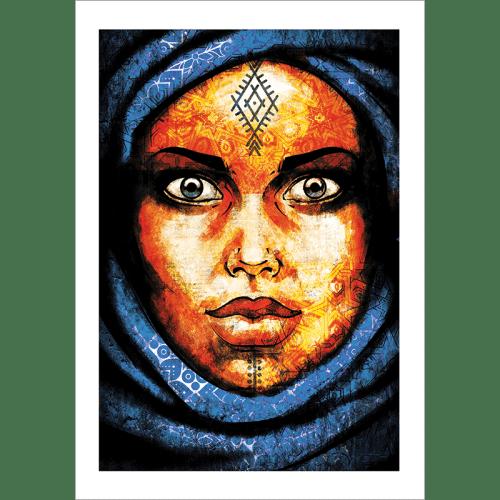 Poster oriental-femme-berbère-bleu