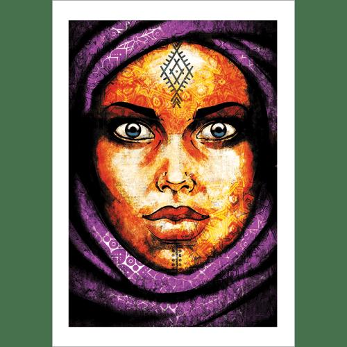 Poster oriental-femme-berbère-violet