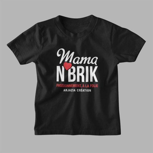 T-shirt arabe fille-mama nbrik-noir