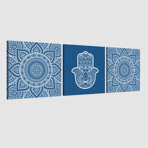 Tableau arabe-Khamsa triptyque-bleu