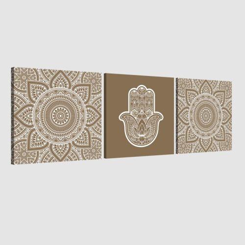 Tableau arabe-Khamsa triptyque-marron