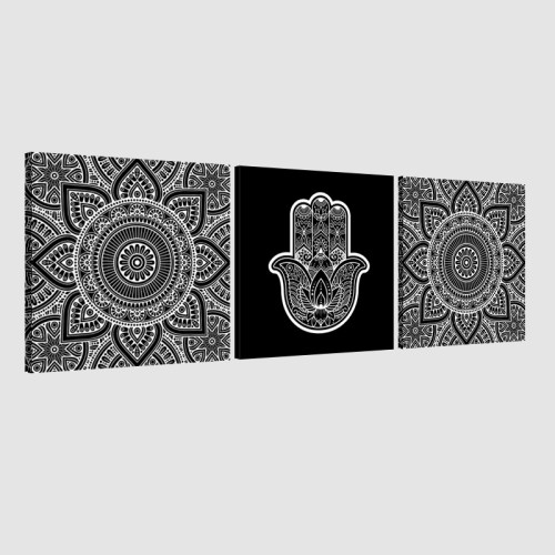 Tableau arabe-Khamsa triptyque-noir