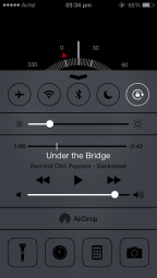 iOS 7 Control Centre, above Compass