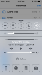 iOS 7 Control Centre, above Mail App