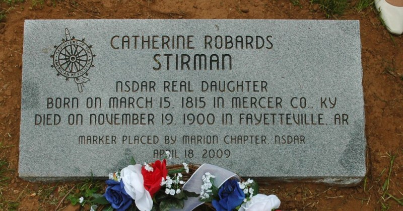 Marion Chapter Real Daughter Catherine Robards Stirman grave stone