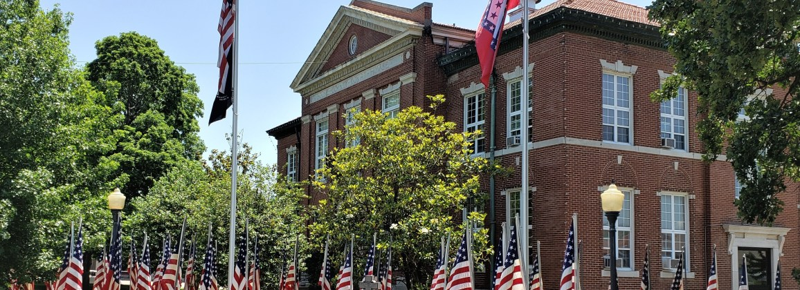 American flags in front of Boone County Courthouse