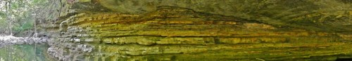 Panorama of massive sandstone downcutting into thinner-bedded unit
