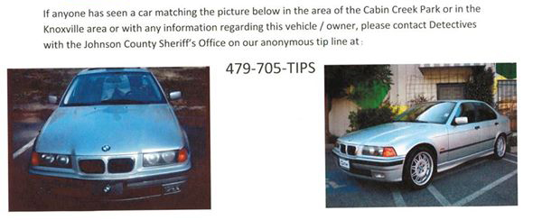 Johnson County Sheriff's Office seeks info Concerning Car in Cabin Creek area - edit