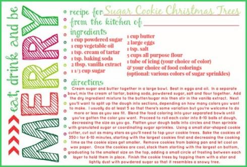 sugar cookie christmas trees recipe card