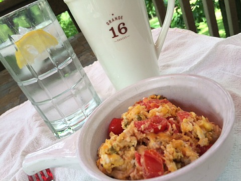 Breakfast is the best: eggs, tomatoes, jalapeños, a glass of water. And coffee. I don't give up coffee.