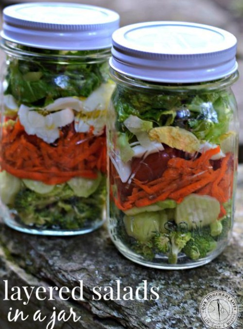 Layered Salad in a mason jar