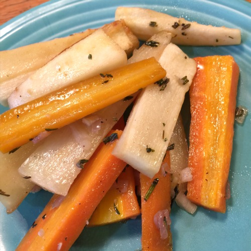 roasted carrots and parnsnips with herb butter from talya boerner