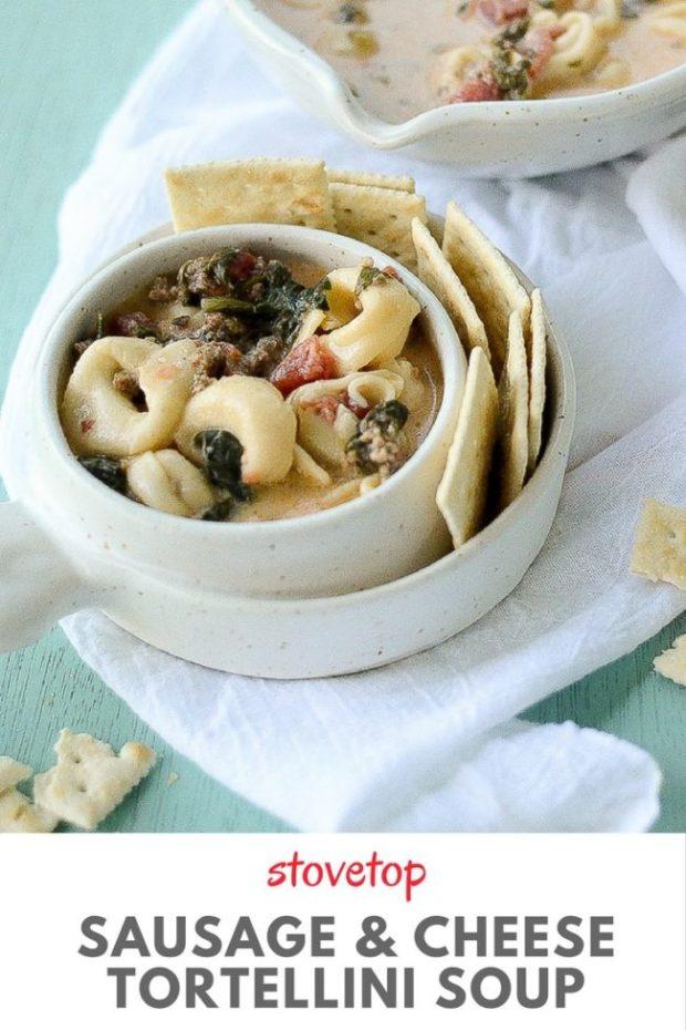 Stovetop Sausage Tortellini Soup via The Gifted Gabber