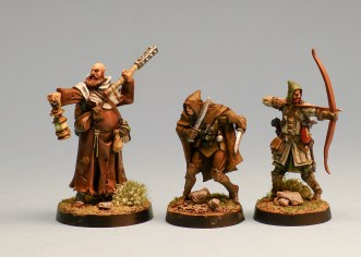 Various humans from Red Box minis. I think these three have all been seen on the blog before. The fellow on the left is Ivan Brown-cup, my 5th level Cleric of Chauntea. Man, that's nerdy!