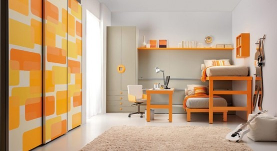 Habitaciones con camas dobles para nios por Tumidei
