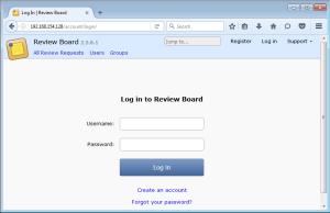 reviewboard login screen