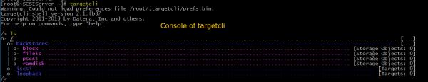 targetcli command