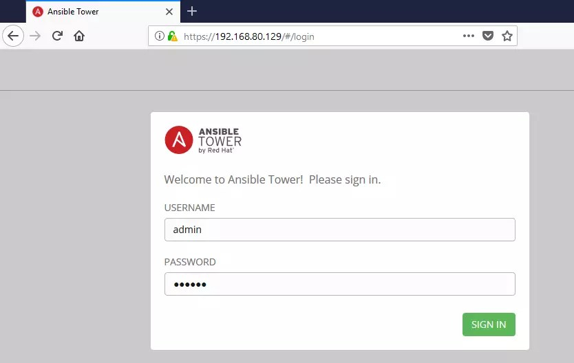 ansible tower login Page