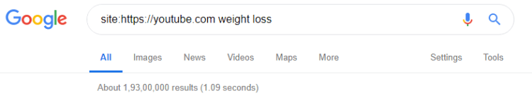 "This will display the exact number of videos already available on YouTube for searched term ""weight loss"""