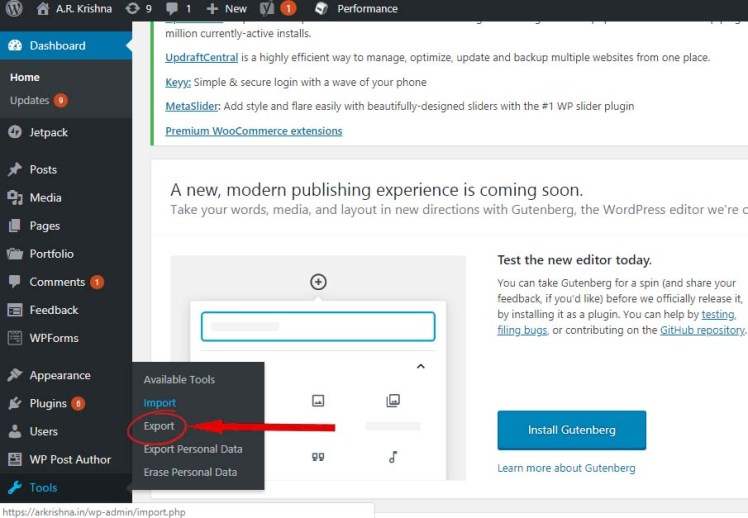 Use Export Import Tool in WordPress to backup your entire site