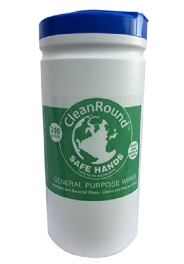 Cleanround Anti-Bacterial Surfactant Cleaning Wipes