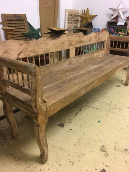 French furniture painted vintage bench