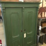 Green vintage three shelf cabinet