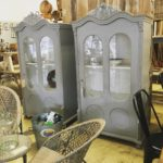 French vintage cabinets with shelving