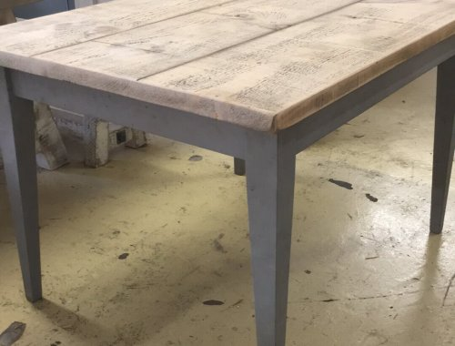 French vintage style taper leg farmhouse dining table