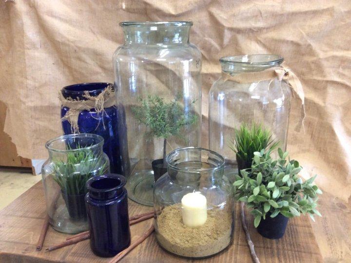 Vintage Glass Jars. pickling vase hurricane