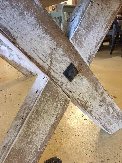 Vintage X leg table close up