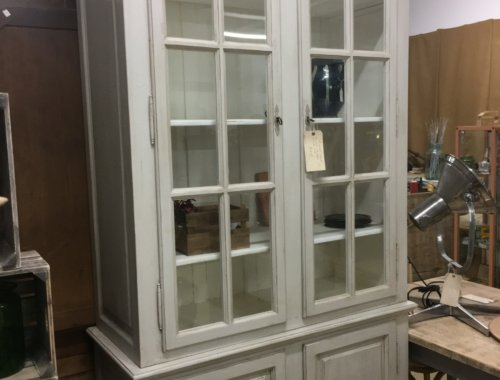 French Vintage grey painted cabinet with storage cupboard beneath