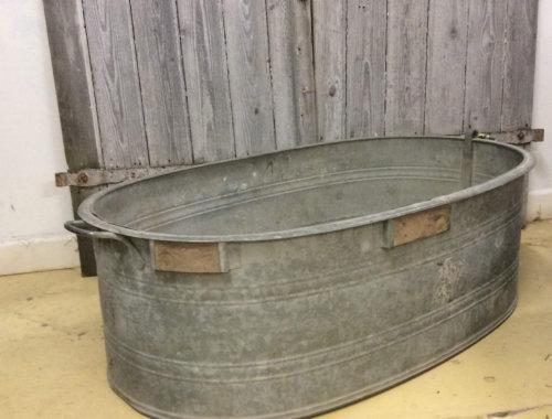 metal bath galvanised planter vintage