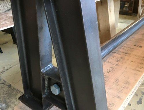 bench, industrial metal, reclaimed wood seating