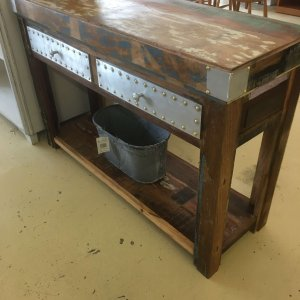 reclaimed industrial console side hall table