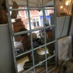 Cast Iron window frame mirror, all original