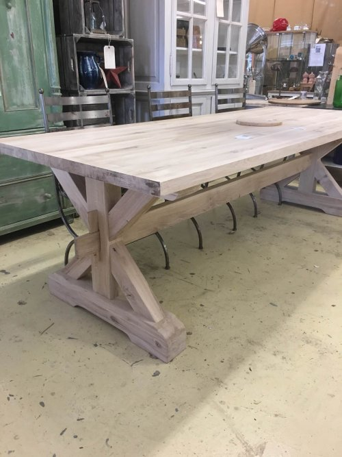 Solid oak X frame table