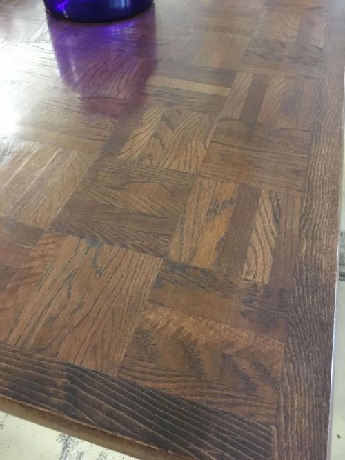 Table oak parquet with taper legs