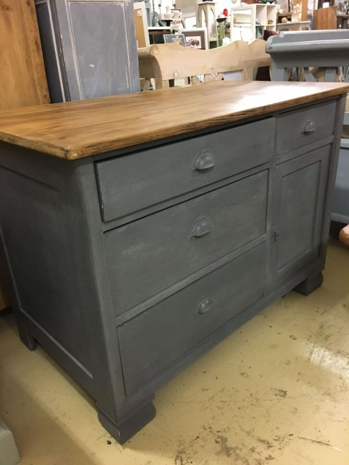 Vintage pine unit painted french
