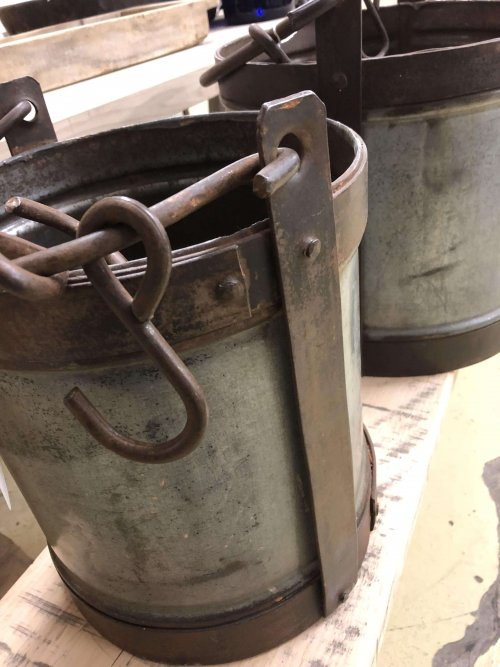 These Vintage Style Metal Buckets galvanised steel and wrought iron.