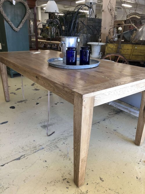 Oak Table 210cm vintage reclaimed wood beautiful reclaimed oak with a warm patina and beautiful grain marking. 210cm x 100cm. £1200. Legs can be removed for transport.
