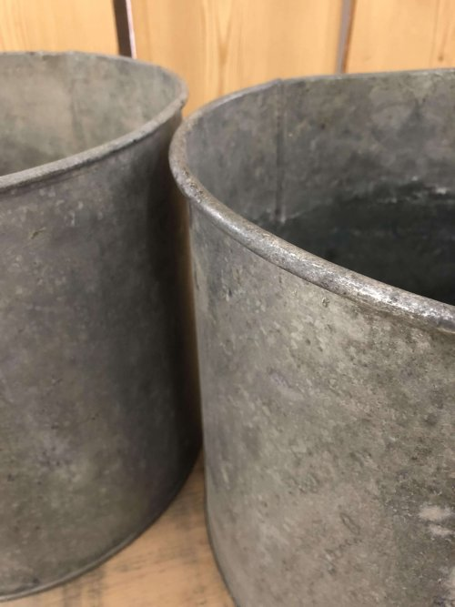 A matching pair of Vintage Galvanised Metal Pots . shopping P&P online These containers make fantastic planters and could be used for kindling or as a little bin etc.
