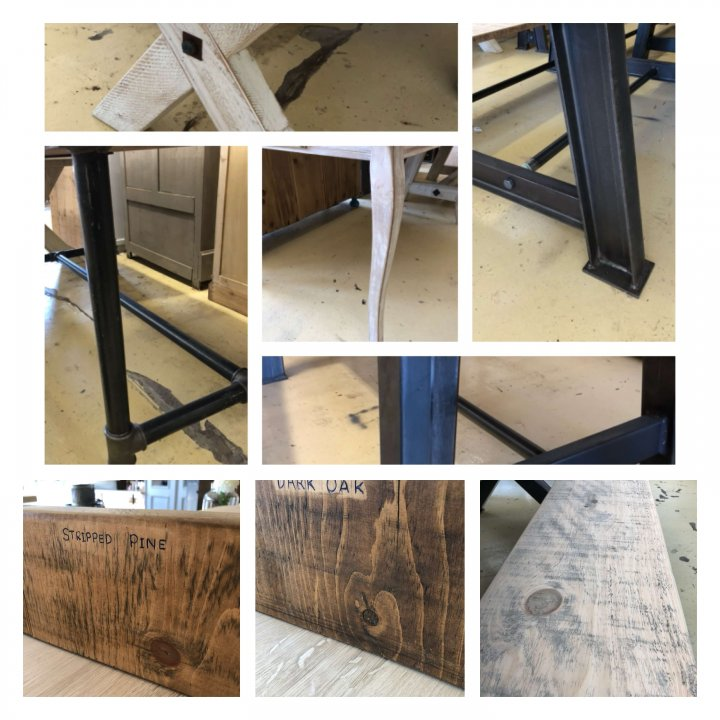 More Dining Tables Back In Stock. Vintage bespoke reclaimed industrial Fabulous range of tables some can be made to specific sizes for you, with a range of finishes for the tops. Others are one offs not to be missed... All in our huge old department store market place in Camberley Surrey