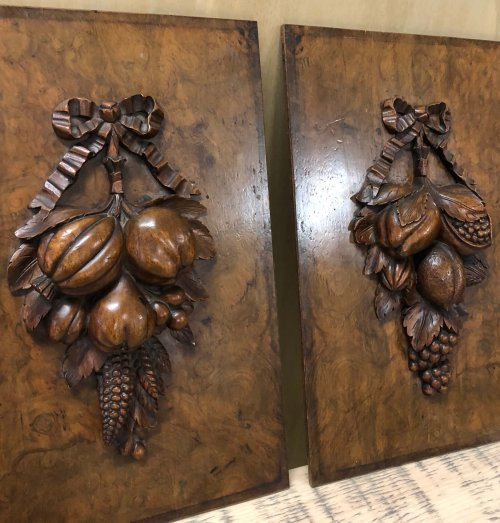 2 Antique French Carved Panels from arkvintage.com. Beautifully hand carved from French fruit wood with a fabulous patina. See pictures for more detail. Shop and buy online now.